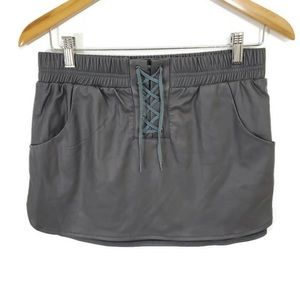 TOBI Pleather Grey Leather Skirt Pockets Lace Up